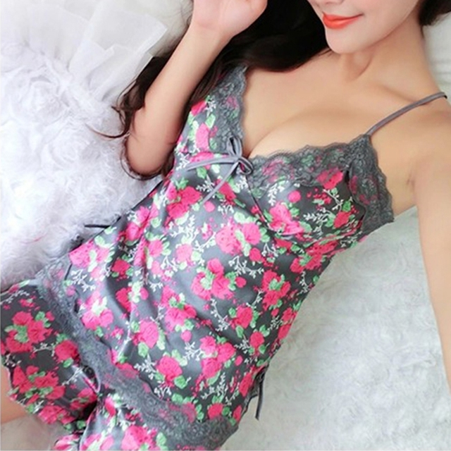 Sexy Pajamas Women Silk Lace Floral Braded Robe Sleepwear Lingerie Nightdress Babydoll Pajamas Set V-Neck + Pyjama Trousers