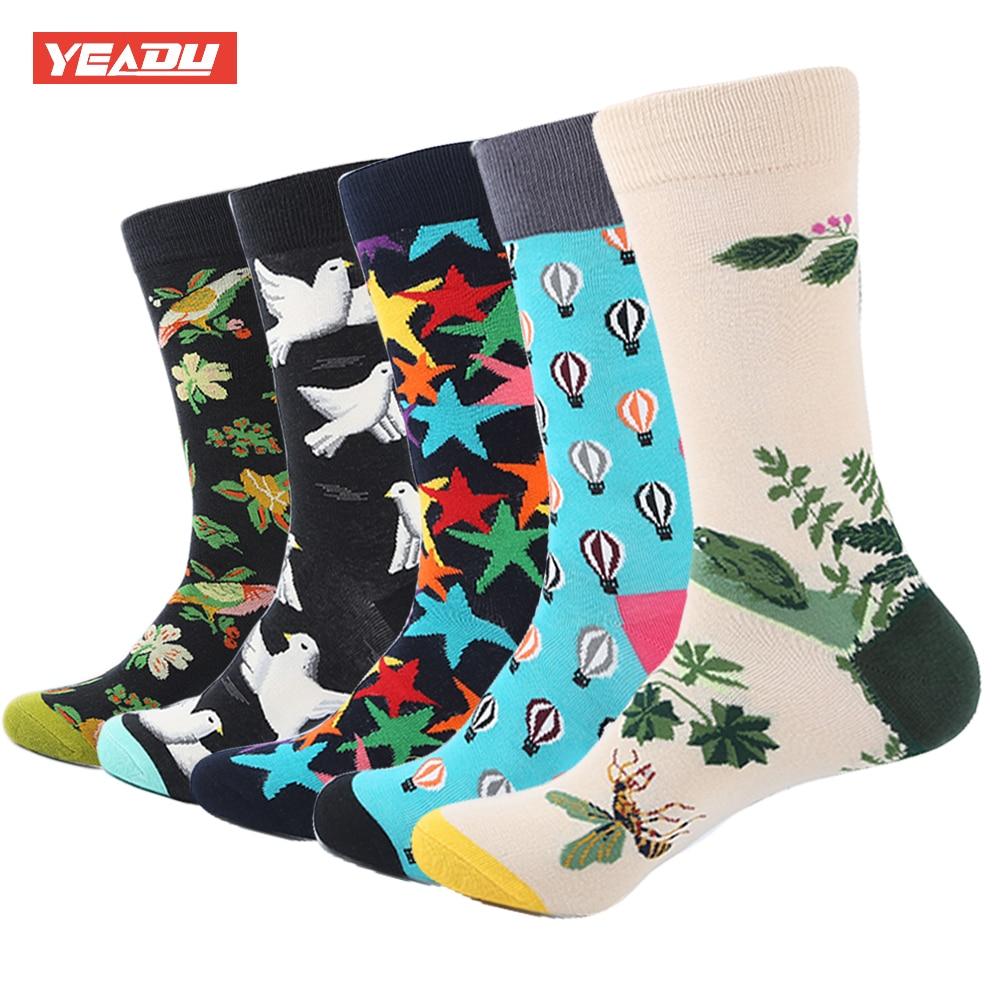 YEADU 5 Pair/Lot Mens Dress Socks Cotton Bird Flower Star Colorful Long Socks Funny Sock For Men Casual Wedding Gift