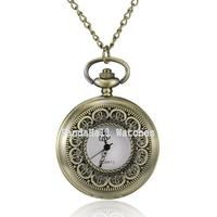 Flat Round Alloy Quartz Pocket Watches, with Iron Chains and Lobster Claw Clasps, Antique Bronze, 30.7
