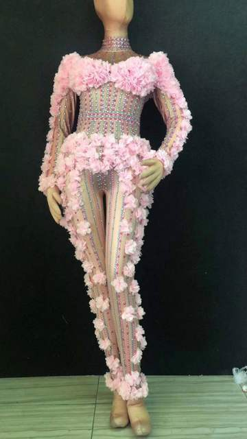 bd081ea4eba5f Pink White Flowers Crystals Jumpsuit Women Nightclub Singer Stage Costume  Birthday Celebration Prom Party Performance Bodysuits