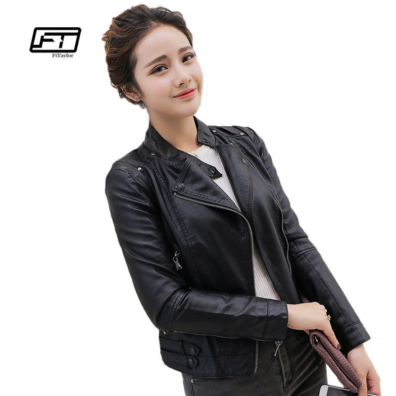 Fitaylor Autumn Winter Women Faux Soft   Leather   Jackets PU O Neck Black Blazer Zippers Coat Motorcycle Outerwear