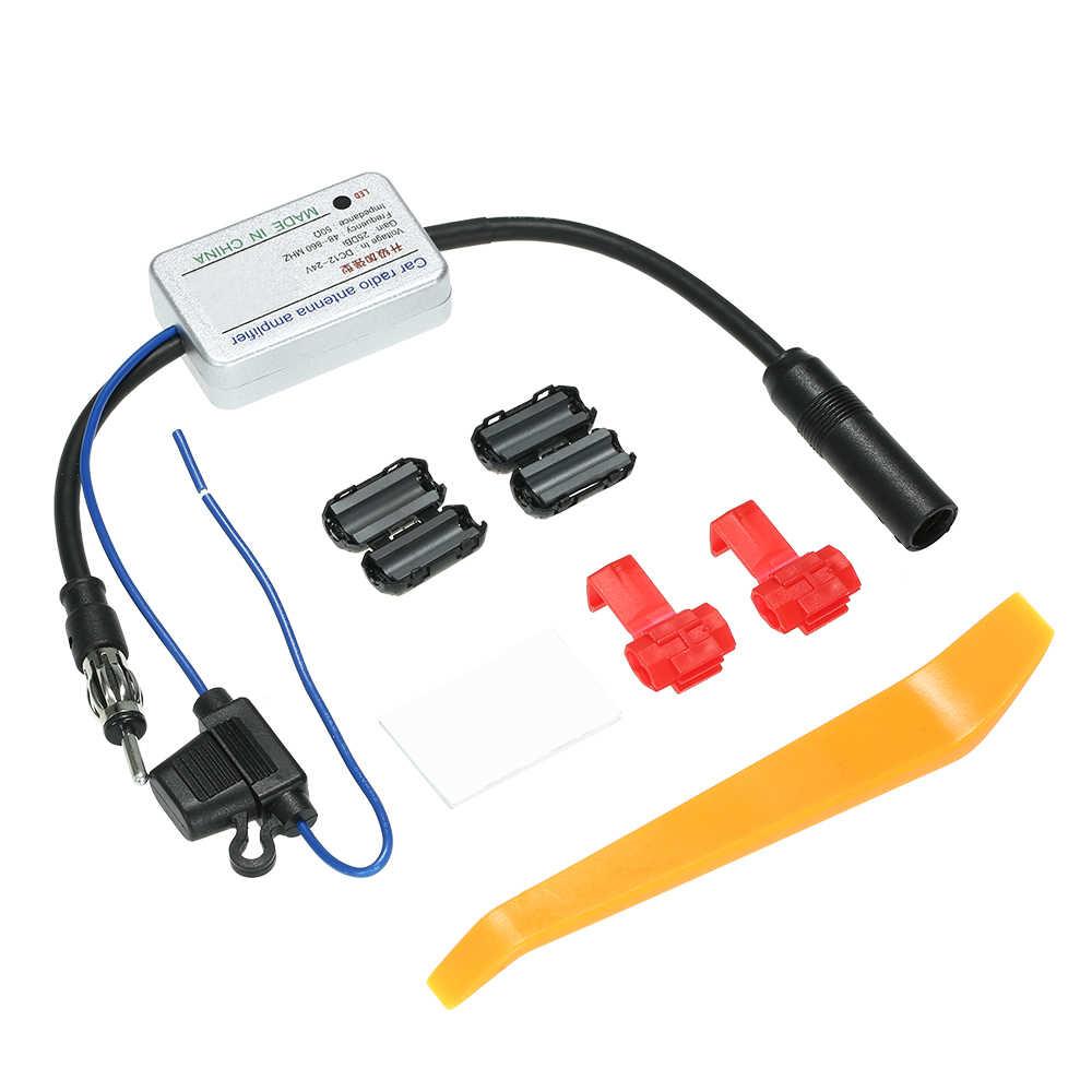 用ユニバーサル12ボルトオートカーラジオfmアンテナ信号アンプアンプブースター用マリン車の車両ボートfmアンプアクセサリー