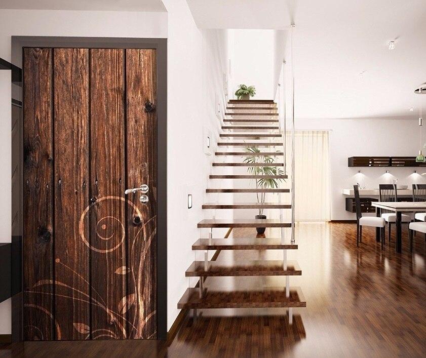 Free Shipping 3d Basketball Court Door Sticker For Bedroom Living Room Gift Art Pvc Waterproof Decal Door Wrap 77*200cm Wall Stickers Home & Garden