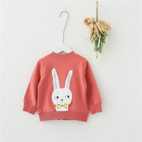 Autumn Baby Coat Cotton Lovely Animals Print Baby Zipper Jacket Cartoon Pink Yellow Dark Blue Color Kids Outwear