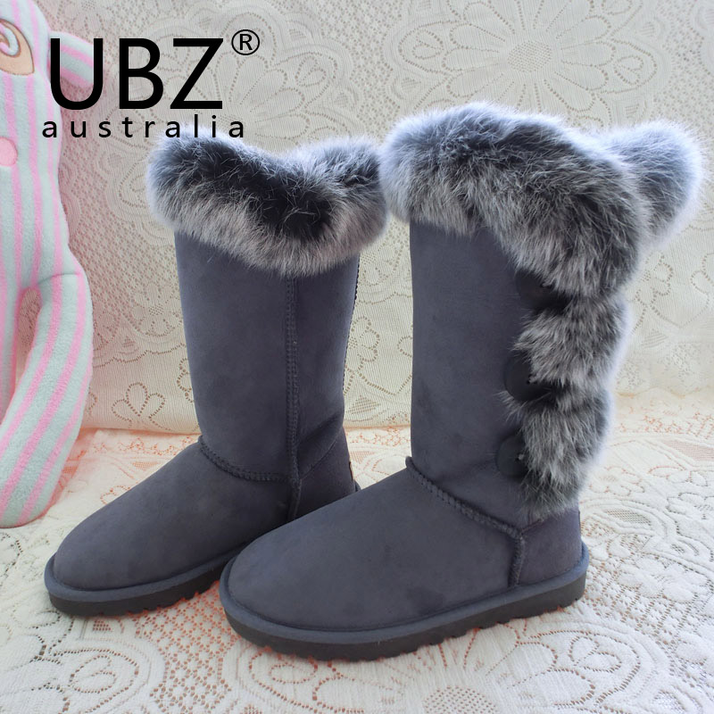 Free shipping Australian fox fur angora Gaotong snow boots Sheepskin boots warm winter female button 3