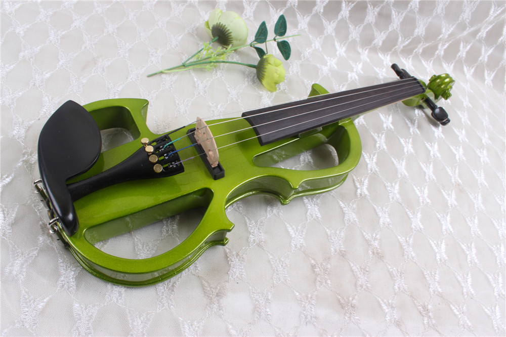 V 3#White 4 string green color Solid wood electric violin can make any size