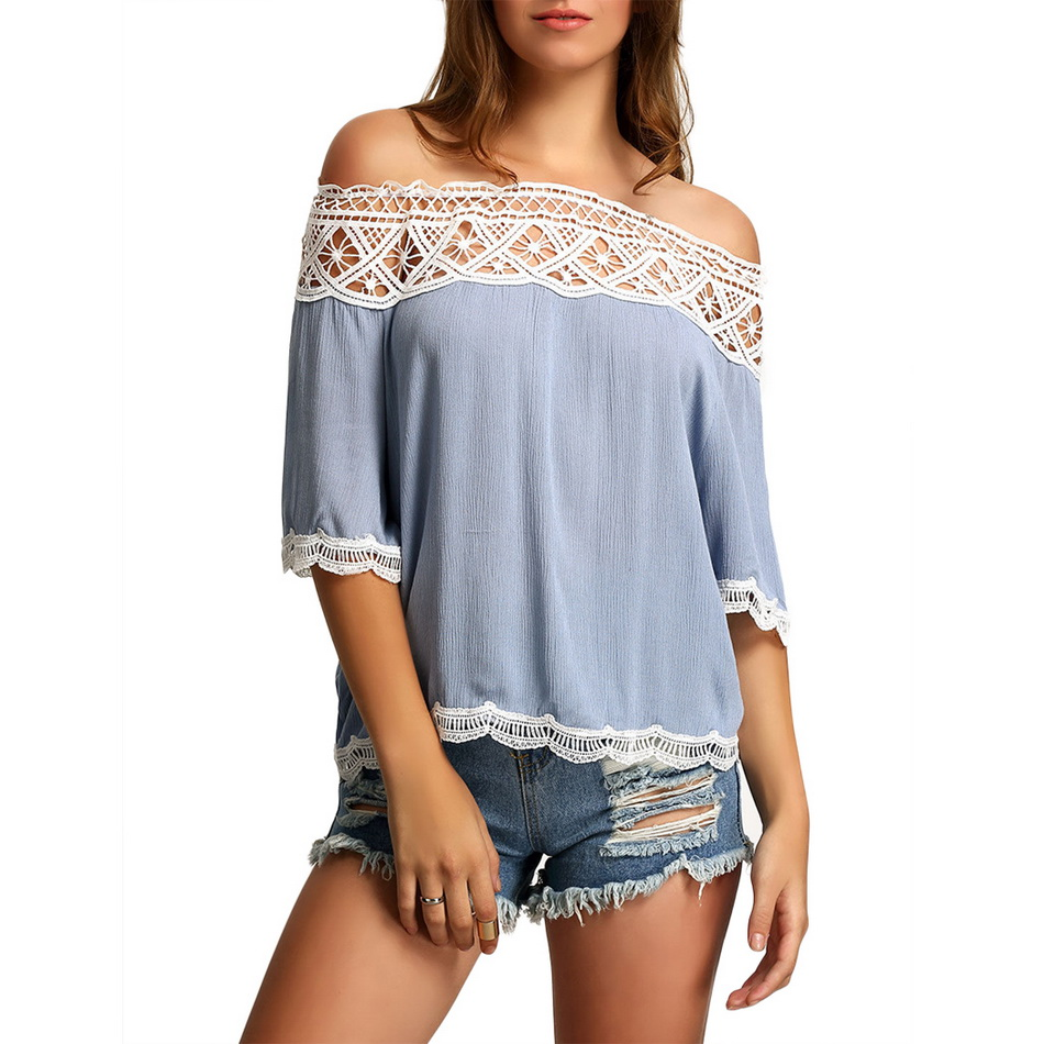 7e1c215ad4c0 Fashion Women Autumn Off-shoulder Blouse Sexy Hollow Out Lace Patchwork  Loose Tops Casual 3 4 Sleeve Beach Clubwear S-XL U2