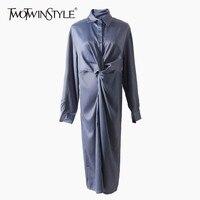 TWOTWINSTYLE Satin Pencil Shirt Dresses Female Lapel Long Sleeve Women's Midi Dress Elegant Fashion Clothing New 2018 Autumn