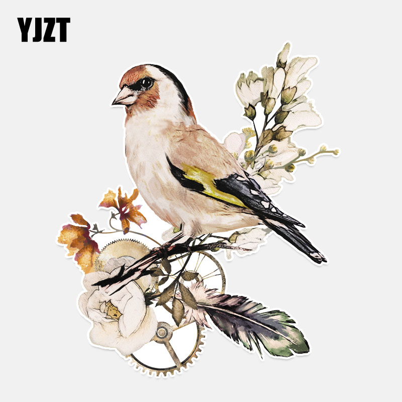 YJZT 13.2*15.6CM Lovely Birds Sparrow Decor Car Sticker Bumper Car Window Colored Personalized 11A0338