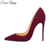 DorisFanny 2018 purple yellow shoes women high heels suede stiletto sexy heels pumps