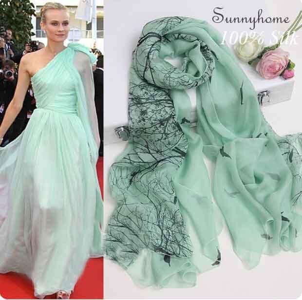 100% silk High quality pashmina scarves designer brand Famous light green printed tree birds hijab summer style silk scarf shawl