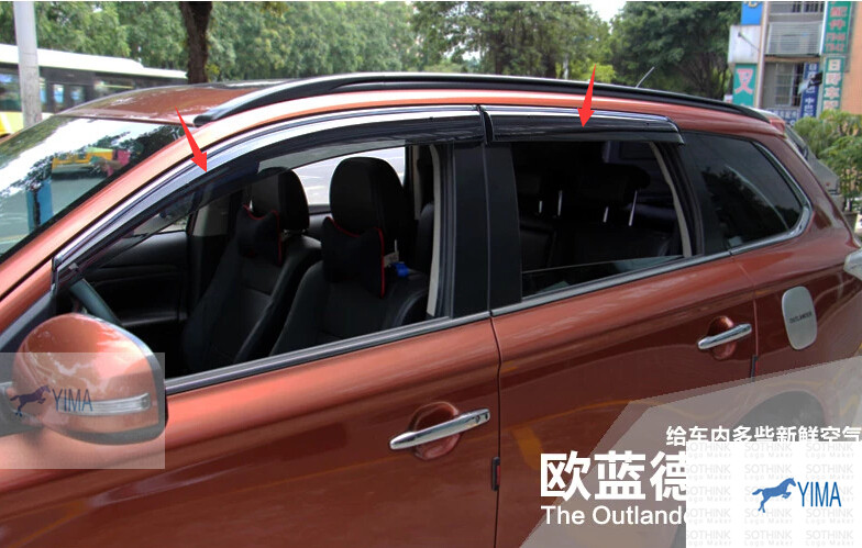 For Mitsubishi Outlander 2013 2014 Window Visors Awnings Wind Rain Deflector Visor Guard Vent 4 pcs