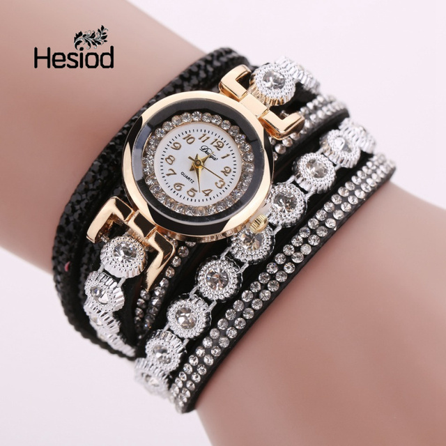 Hesiod Multilayer Women Watches Casual Analog Quartz Watch Rhinestone Crystal Br
