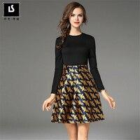 Spring Autumn Fashion Women Bird Printed Dresses Autumn Knitted Fake Two Pieces Splicing Casual Elegant Mini