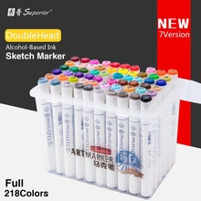 Superior 60/80/218Color Dual Soft head Art Sketch Marker Set Alcohol Based Sketch Marker Pen for Artist Office Drawing Design bainyo dual head art markers alcohol based sketch marker set manga marker for artist desinger drawing 72 color marker supplier