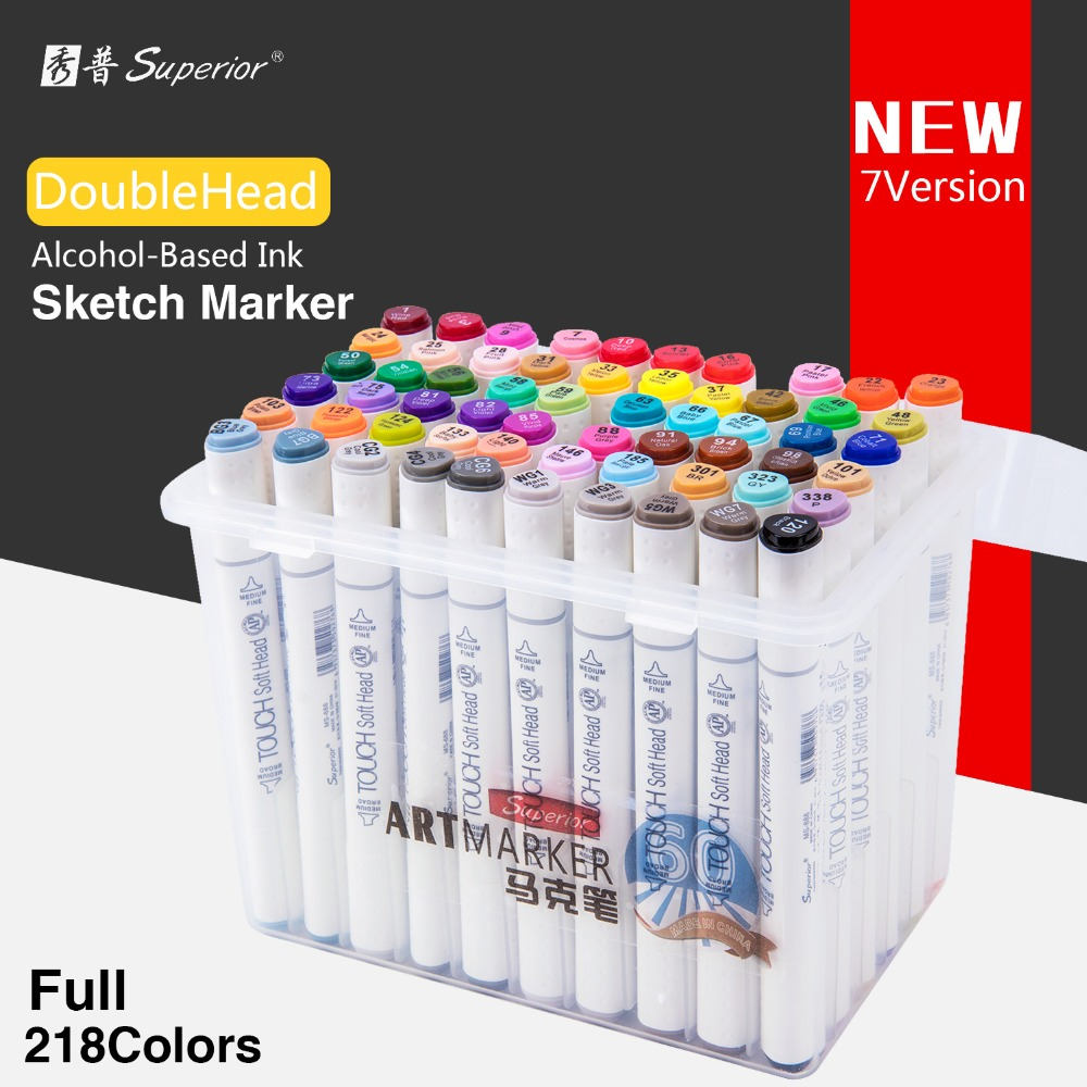 Superior 60/80/218Color Dual Soft head Art Sketch Marker Set Alcohol Based Sketch Marker Pen for Artist Office Drawing Design