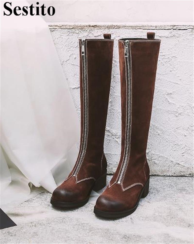 Bout Rond Du Gradient Picture Troupeau Chaussures Long Hauteur Picture Med Mode À Bottes Brun Talon as Femmes Genou Pour Zip As Femme Carré Casual x7wgIq