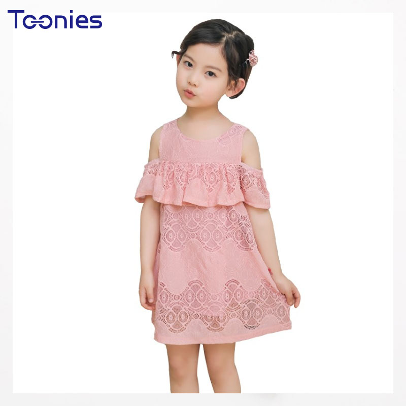 2018 Hot Sale Summer Short Sleeve Girls Dress Casual All-match Off-shoulder O-neck Kids Dresses for Girls Lace White Pink Dress