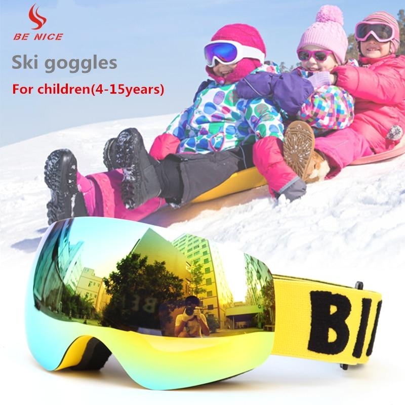 Prix pour Benice Enfants Haute Performance Ski Snowboard Lunettes Avec Double Couche Anti-Brouillard Lentille Optique SN-4700