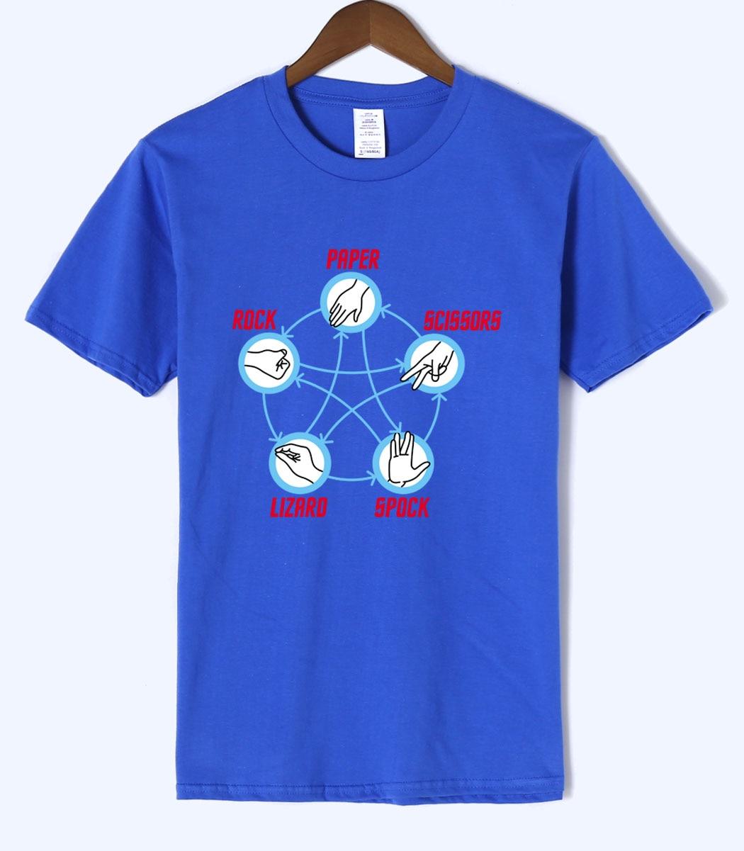 The Big Bang Theory Rock Paper Scissors Lizard Men Tshirt 2018 Summer Mens T Shirt High Quality Short Sleeve O-neck Men's Tees