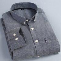 Herenmode Casual Shirt Effen Kleur Lange Mouw 55% Katoen Blauw Zwart Wit Roze Plus Size 5XL