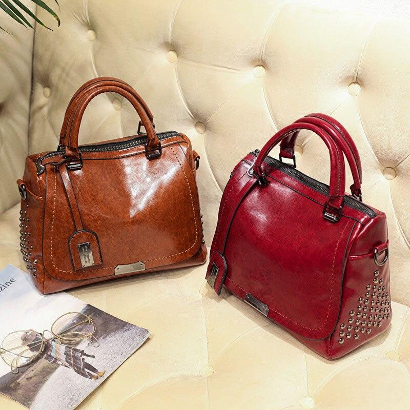 Image 3 - Famous Brand Oil Wax Leather Rivet Boston Bag Crossbody Bags for Women 2020 Tote Shouler Bag Luxury Handbags Women Bags DesignerTop-Handle Bags   -