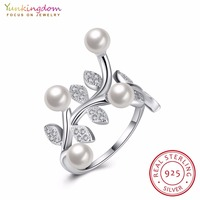 Yunkingdom Luxury 925 Sterling Silver Rings Pearl Leaves Design For Women Girls Rings Party Jewelry
