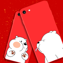 IIOZO Cute Bear Case for iphone 6 6S For Apple Iphone 6plus 6splus Lovely Frosted Matte Hard Plastic Red Phone Back Cover