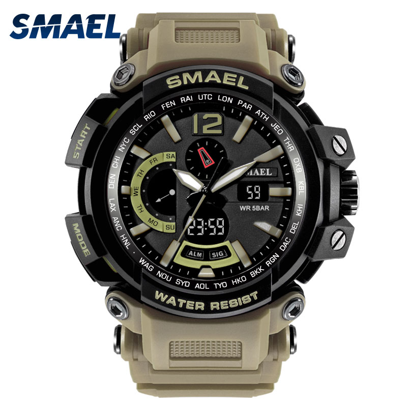 Students Military Watch Waterproof 50M S Shock Resitant Sport Watches saat Digital Clock Men Army 1702 Big Men Watch Sport ...