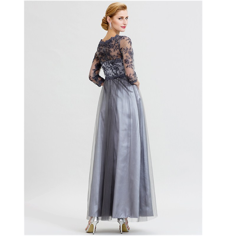 LAN TING BRIDE A-Line Princess Illusion Neckline Floor Length Lace Over Tulle Floral Lace Mother of the Bride Dress
