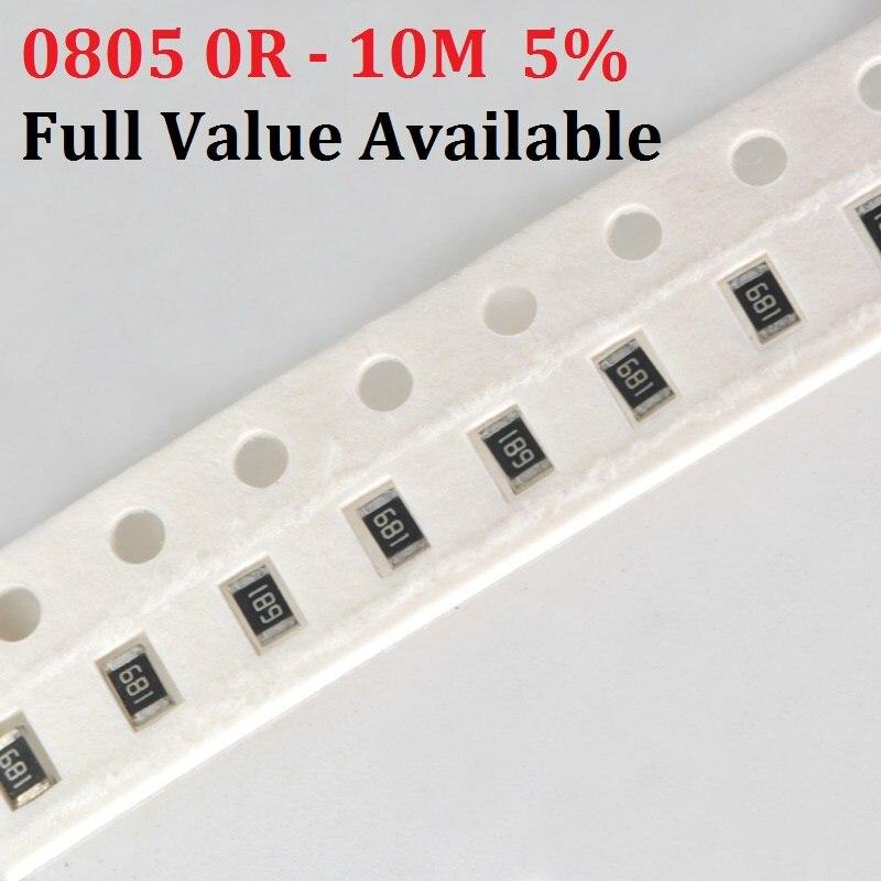 200 шт. SMD чип резистор 0805 5% 0R ~ 10 м 10K Ом 10R 100R 220R 330R 470 Ом 1K 2,2 K 10K 100K 0R 1R 2/3/4/5/6/набор 7/8/9/R/K
