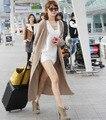 T desfile de moda genuína camisola de caxemira mulheres muito longo cashmere cardigan de cashmere puro camisola casaco frete grátis