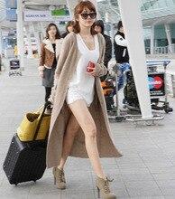 T fashion show genuine cashmere sweater women very long cashmere cardigan pure cashmere sweater coat free shipping