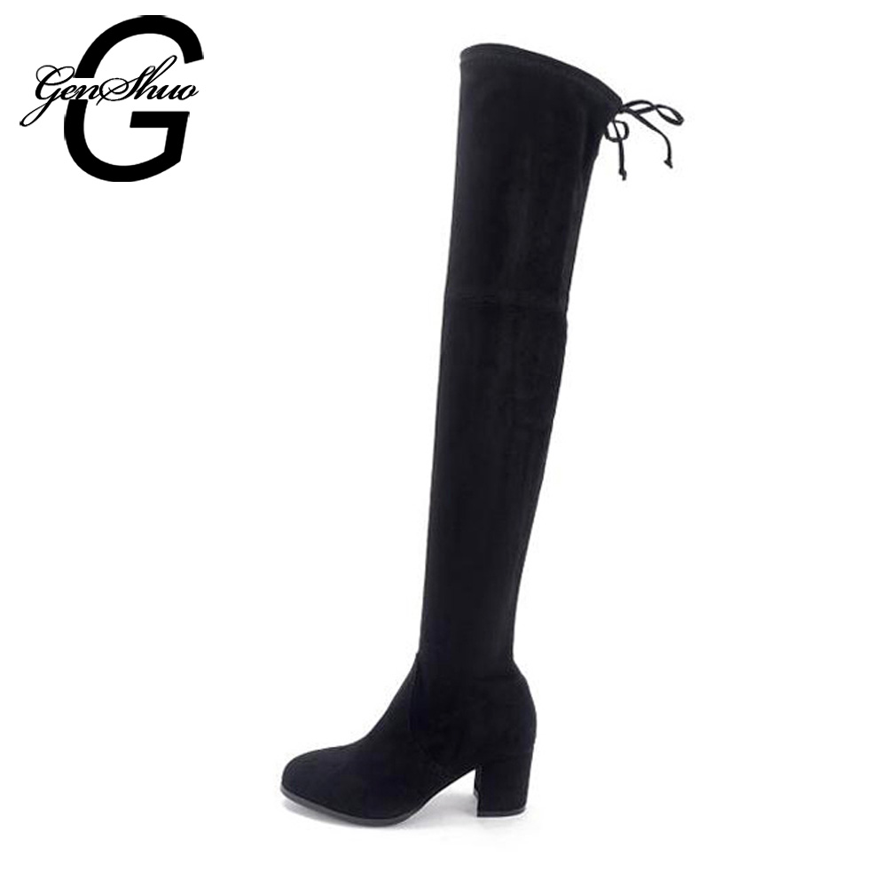 GENSHUO Fur Winter Boots Women Over The Knee Boots Short Plush Warm Shoes Square High Heel Solid Black Grey Round Toe Botas egonery shoes 2017 women knee high boots side zipper black square toe solid color high quality short plush fashion riding boots