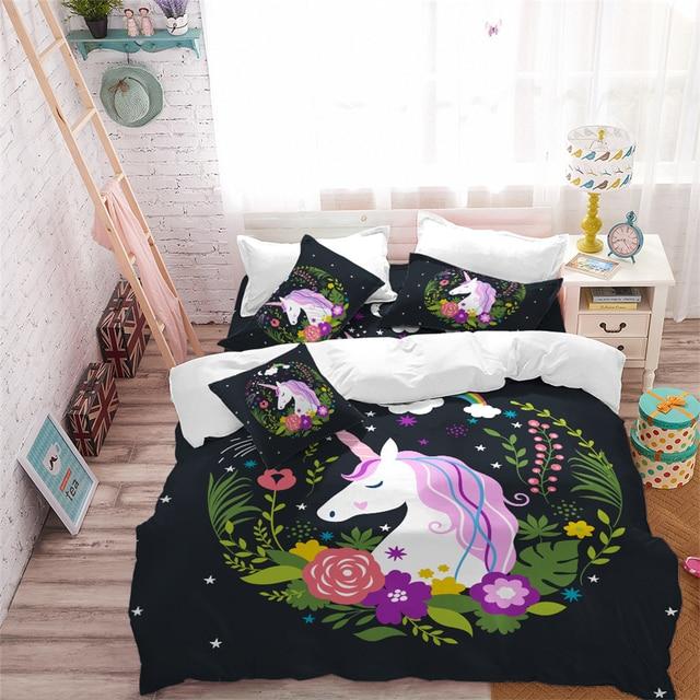 Cute Floral Unicorn Bedding Set