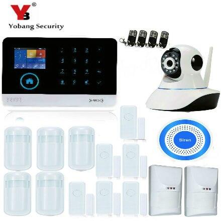 Sicherheitsalarm Yobang Sicherheit Wireless Home Security Wifi Rfid Sim Gsm Alarm System Ios Android App Control Video Ip Kamera Rauch Feuer Sensor Alarm System Kits