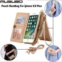 Musubo用iphone 8プラスケースファッションガール女性取り外し可能なフリップ財布ケースポーチハンドバッグのためのappleのiphone 8 8プラス5.5