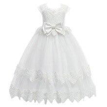 Baby Kid Girls Bow Lace Dress Wedding Party Birthday Gown School Prom Long Dress Sleeveless High Waist Pleated Slim Dress 4-13Y girls lace pleated dress
