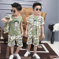 2016 Fashion Kids Tracksuit Casual Vetement Enfant Garcon Handsome Boys Clothing Set Cool Ropa Mujer Summer