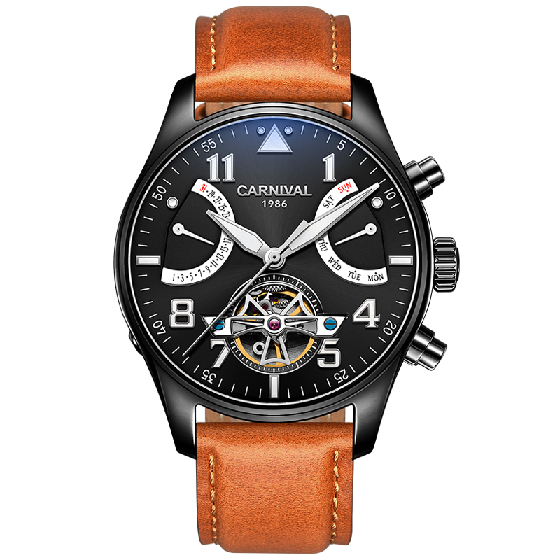 лучшая цена Carnival Watch Men tourbillon Automatic Mechanical Luminous Black Stainless Steel Waterproof multifunction Leather Watches