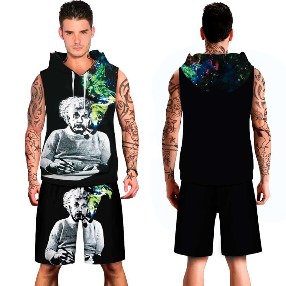 2018 MIDUO 3D Einstein Smoking printed Beachwear male spring summer hoody Men Vest short Sleeveless Suit Clothing Set plus size