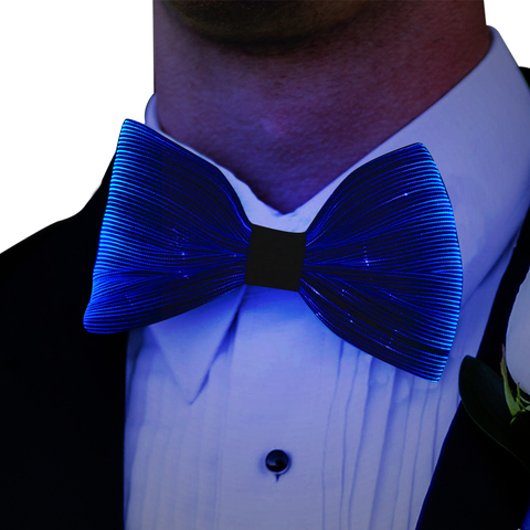 Luminosas de Luz para os Homens Mulheres de Cabelo Festa de Natal Light Cores Bowtie Corda Música Rave Led Pescoço Gravata Borboleta up Bow Tie 7