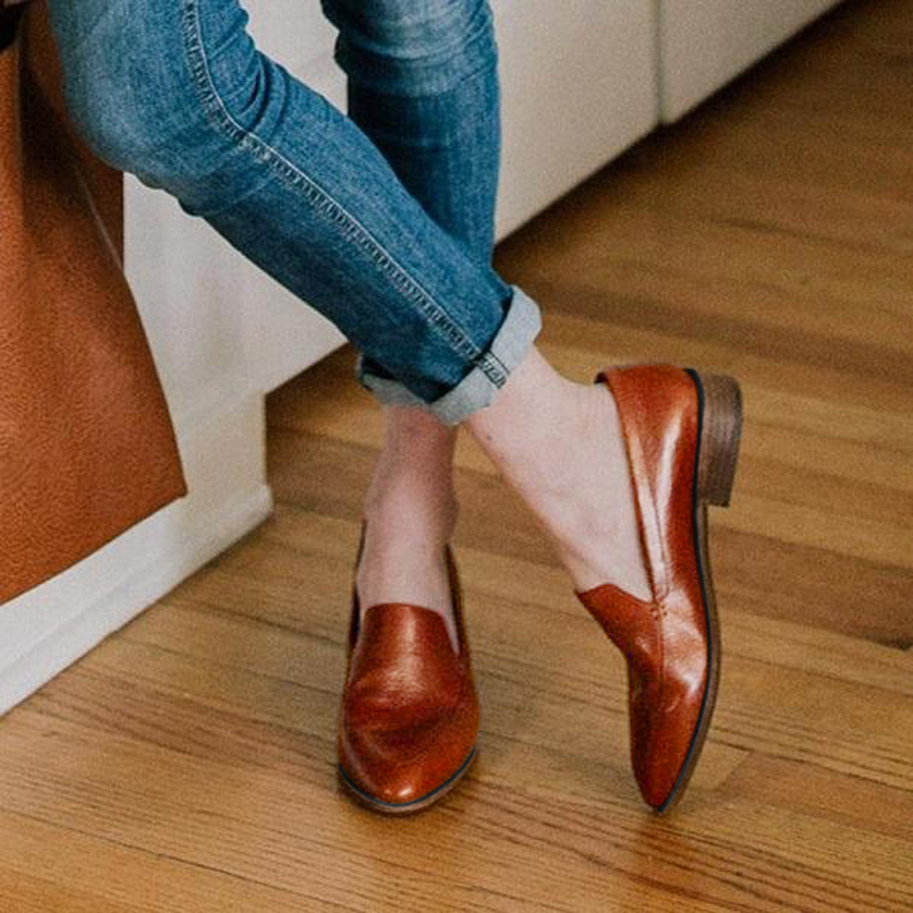 Car donna marrone tacco Scarpe tacco tinta on donna quadrato unita da da Donna Chaussures Nero rosa Slip 77wZrz