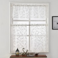 Short Pocket Kitchen Organza Modern Rod Style Window Door Curtain Luxury White European Jacquard Black Sheer