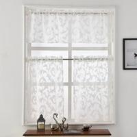 Short Pocket Kitchen Organza Modern Rod Style Window Door Curtain Luxury White European Jacquard Black Sheer