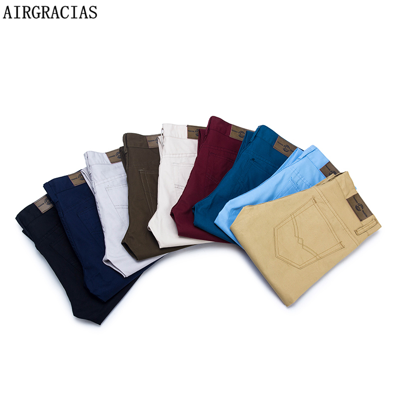 AIRGRACIAS 2019 New Casual Men Pants Cotton Slim Pant Straight Trousers Fashion Business Solid 9 Color Pants Male Trousers