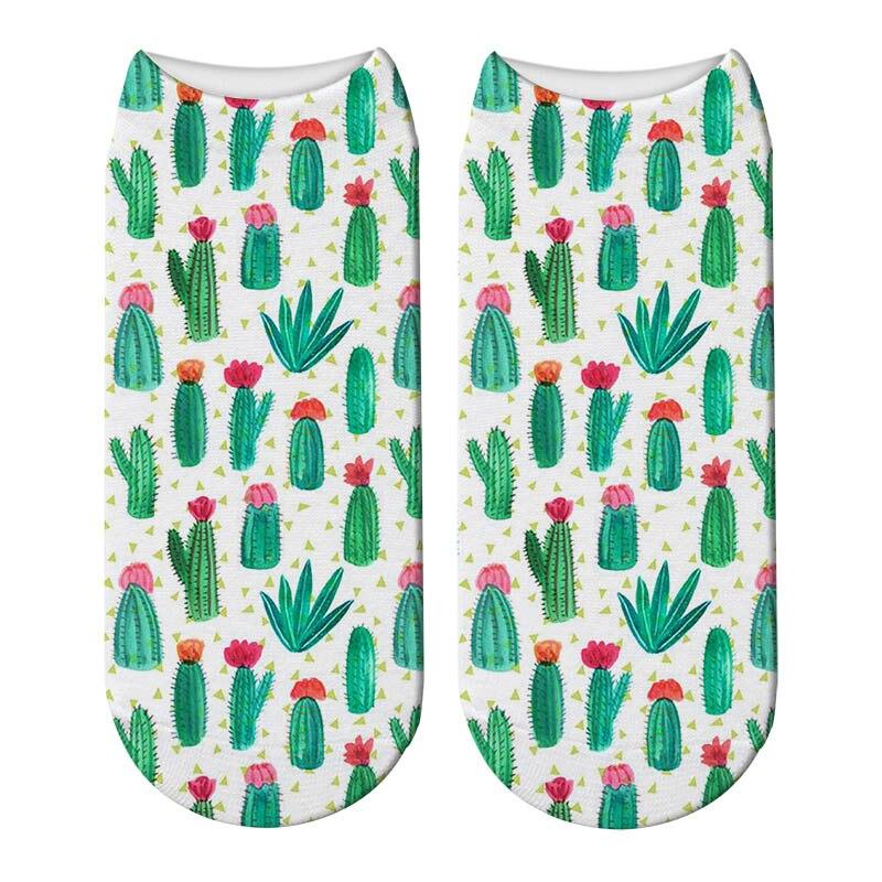 New 3D Printing Tropical Pineapple Socks Women Beautiful Nut Cactus Sox Meias Funny Fashion Unisex Flamingos Low Ankle Socks