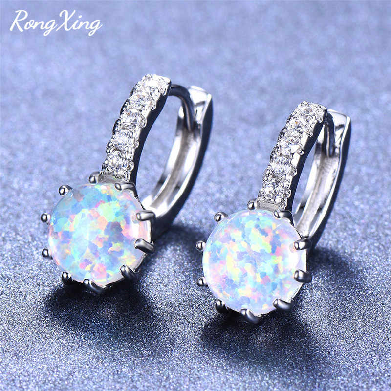 RongXing 8MM Round Stone 925 Silver Opal Hoop Earrings for Women Rose Gold Filled Crystal Zircon Earrings Valentine's Day Gift