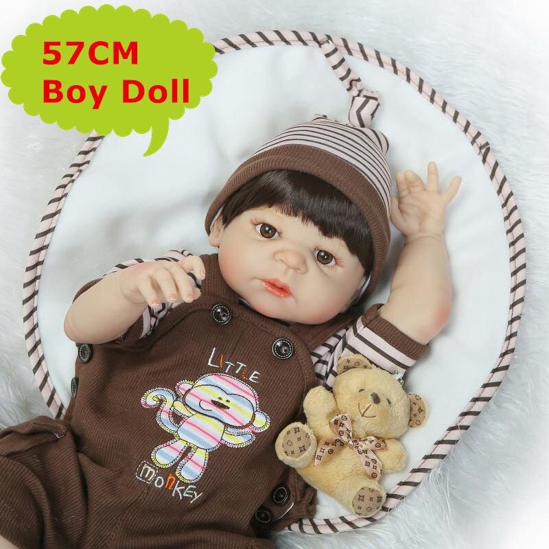 NPK poupée corps entier Silicone Bebes renaître Boneca 57 cm réaliste nouveau-né bébé garçon jouets jouer maison jouets cadeau d'anniversaire pour bébé fille