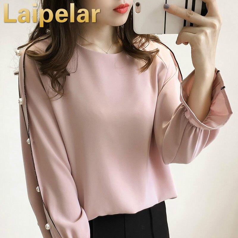 Chemisier Femme Pink Shirt Women Top Spring Chiffon Beaded Long Sleeve Women Blouse Shirt Pink Blusas Femininas Plus Size 3XL in Blouses amp Shirts from Women 39 s Clothing